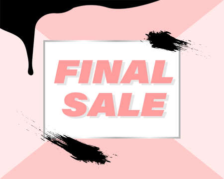 final sale - stylish banner, sticker, sign, label for sales in pink. Suitable for the beauty industry, fashion, cosmetics, clothing stores. Vector illustration, Memphis style. Brush strokes and drops. Illusztráció