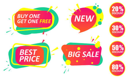 big sale - a set of banners, stickers, labels, icons for sales. New, best price, buy one, get one free, 20 30 50 80 percent discount. black friday Vettoriali