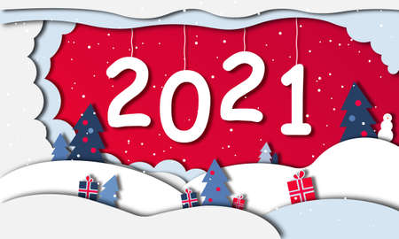new year 2021 in the style of paper cutout. Winter illustration for a holiday, Christmas. Banner, sign for the site. Snowdrifts, Christmas trees, gifts, snowman.