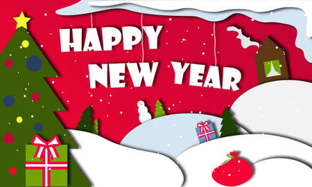 happy new year 2021 in the style of paper cutout. Winter illustration for a holiday, Christmas. Banner, sign for the site, poster. Snowdrifts, Christmas trees, gifts, snowman, house, bag with gifts Stock fotó