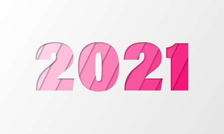 2021 in paper style, paper cut effect. New year, happy new year banner in pink colors. Can be used for christmas banners, cards, advestising