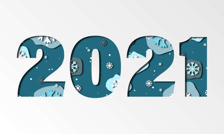 2021 in blue color. Paper style, paper cut effect. New year, happy new year banner with blue and white snowflakes. Can be used for christmas banners, cards, advestising Stock fotó