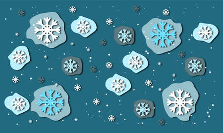 blue background with blue and white snowflakes in the style of paper cut effect. Winter snowy frosty background. Suitable for new year and Christmas banners, covers, and ads. Stock fotó