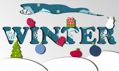 winter banner in blue in paper cut effect. New year banner with snowy elements (christmas tree, mittens, christmas balls, gift, present, snowman).