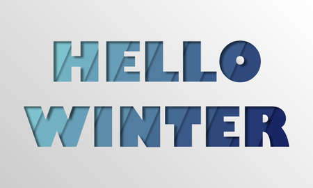 Hello winter banner in blue colors in paper cut effect. Stock fotó