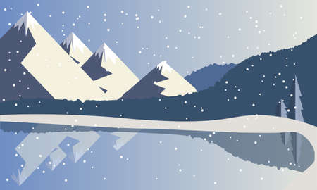Mountain forest winter landscape near a reservoir near a lake in blue. Vector illustration. Winter mountain background.