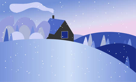 winter forest landscape with house with blue color. vector illustration. Winter background. New year and Christmas. House with smoke in the forest on the hills.