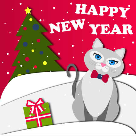 Christmas illustration with a cat and a Christmas tree in the style of paper cut out. Snowdrifts, gift, Christmas tree, gray cat with a bow. Happy new year, merry christmas. 2021.