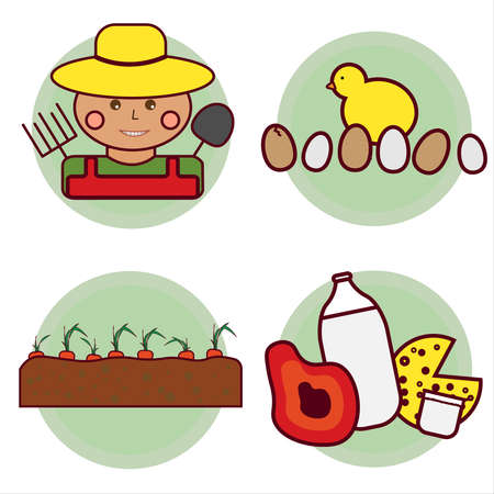 Agriculture, subsistence farming - a set of illustrations and icons. Farmer in a hat with a pitchfork and a shovel. Garden with carrots. Farm products (milk in a glass bottle, cheese, meat, yogurt, egg Illusztráció