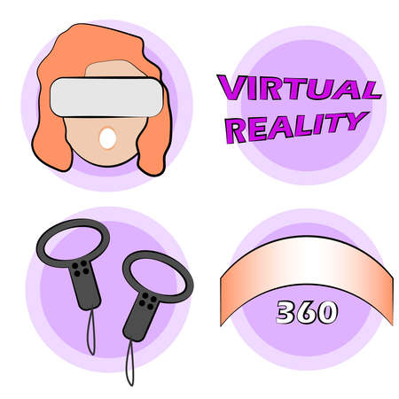 set of vector illustrations virtual reality glasses. VR headset, vr view. VR glasses on the face, on head. The view around 360 degrees. touch controllers for vr glasses. inscription virtual reality Illusztráció