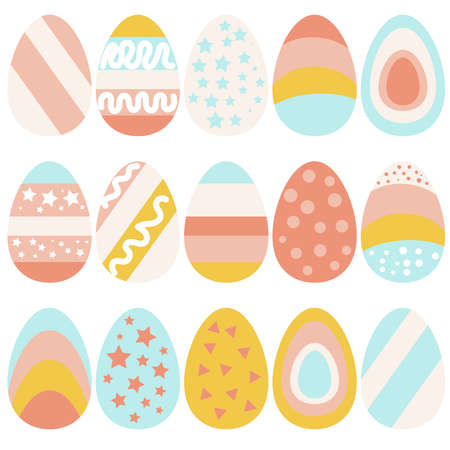 Easter egg. Colored eggs. a set of images of eggs for Easter. Bright eggs in stripes, polka dots, with stars in pink blue yellow. Vector illustration. Stickers for Easter stickers on the eggs.