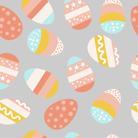 Easter eggs pattern. Colored eggs. a set of images of eggs for Easter. Bright striped eggs with stars in pink blue and yellow. Vector illustration. for textiles and printing Illusztráció