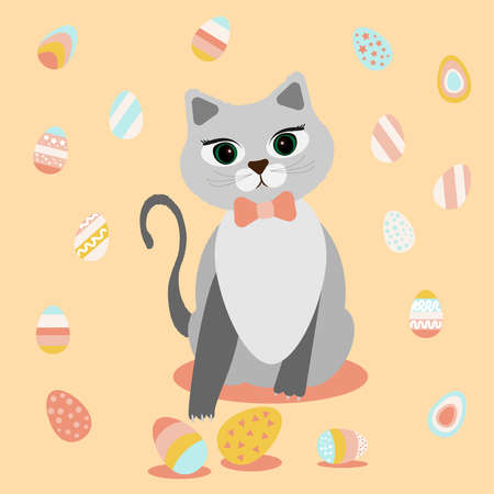 Gray cute cat and Easter eggs. Cat playing with chicken eggs. Colorful bright eggs in stripes, with stars in pink blue yellow. Vector illustration. happy easter