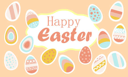 Happy Easter banner, sign. Easter eggs and happy Easter inscription. Colorful bright eggs in stripes, with stars in pink blue yellow on a pink background. Vector illustration.