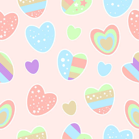 Pattern of multicolored hearts on a soft pink background. Blue pink green striped hearts with stars. Happy Valentine's day. For textiles, packaging, printing, covers