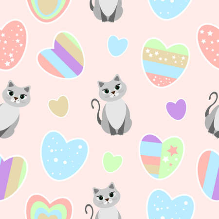 Pattern of hearts and cats on a soft pink background. Blue pink green striped hearts with stars. Happy Valentine's day. For textiles, packaging, printing, covers