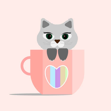 Cat in a Cup. Gray cute kitten in a pink Cup with a heart. Vector illustration. Happy Valentine's day.