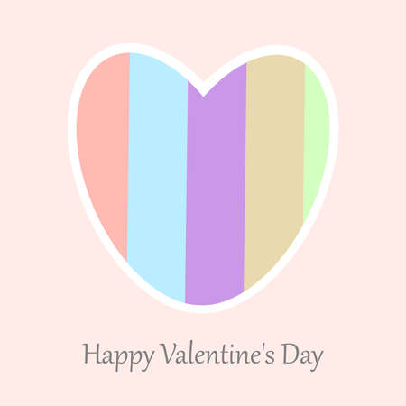 Cute heart with multicolored stripes on a pink background. Be my Valentine. Happy Valentine's day. Vector illustration.