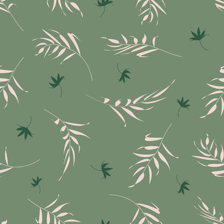 Pattern with stylish plant branches and leaves on a green background. Vector illustration. For textiles, clothing, bed linen, printing. Illusztráció