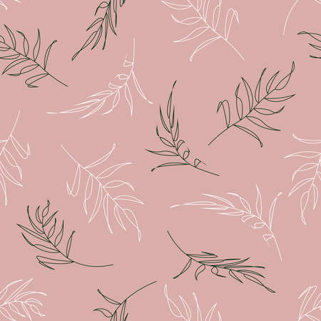 Stylish pattern with leaves in the contour, plant branches on a pink background. Botanical pattern for clothing, bed linen, textiles, and printing. Vector illustration. Illusztráció