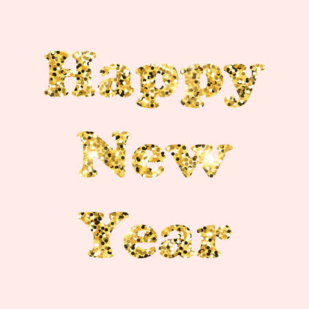 Happy new year with glitter lettering on pink background. Gold inscription, gold confetti. Stock fotó