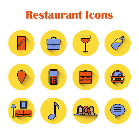 Icons for restaurants and cafes in bright colors. Vector for the restaurant business. Illusztráció