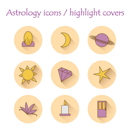 set of astrological icons, covers the highlights of astrology. Vector flat illustration. Illusztráció