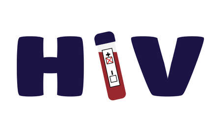 Label HIV in a test tube instead of the letter I. Positive test for HIV, AIDS. World day of fight against AIDS. Vector illustration