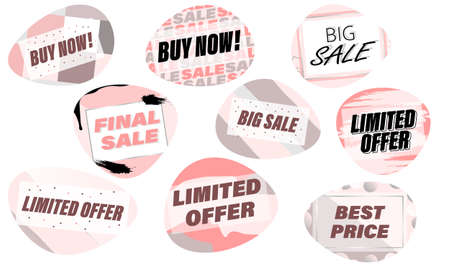 A set of stickers, banners, badges, labels, and sales signs in pink. Vector illustration