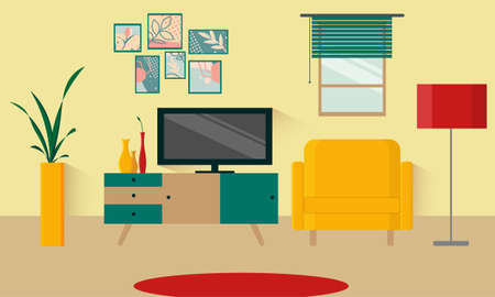 Living room interior in a retro style. Background of the living room in an apartment or house. TV stand, chair, lamp with shade, vase with flowers, window, carpet. Vector flat illustration. Illusztráció