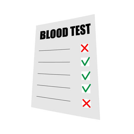 Blood test results on paper. The result of a medical test. Document with check marks and crosses. Vector illustration.