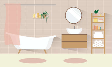Bathroom interior background. Beige bath room with sink. Rack with towels, toilet paper rolls. Vector flat illustration.