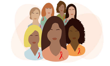Women with red ribbons on their chests. Women together. Community of support for HIV-infected people. World aids day. Vector illustration.