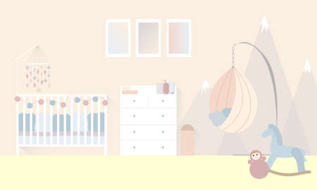 The interior of a baby room for a newborn in pastel colors. Wall decor with mountains. Vector flat illustration with a baby cot with a baby mobile. Suspended cocoon chair.