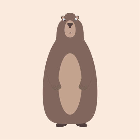 groundhog, marmot or ground squirrel stands on its hind legs. Vector illustration. Cute little forest wild animal.