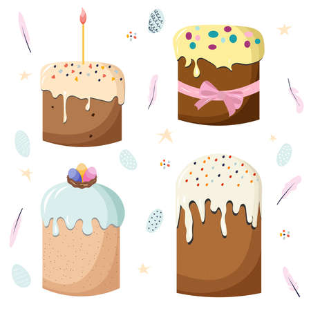 Vector set of cute Easter cakes with dripping glossy icing. Elements of Easter day: painted colored eggs, a cake tied with a ribbon, a cupcake with candles. clipart