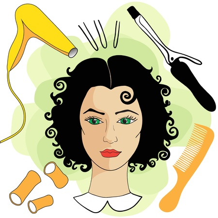 Girl in a hair salon with hair tools Vector