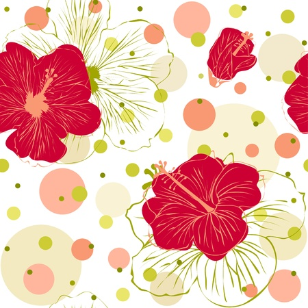 手でシームレスなパターンのベクトル イラスト描画赤いハイビスカスの花