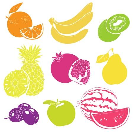 과일 벡터 설정, 다채로운 그림 일러스트