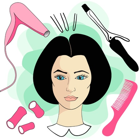 hair dryer: Girl in a hair salon with hair tools Illustration
