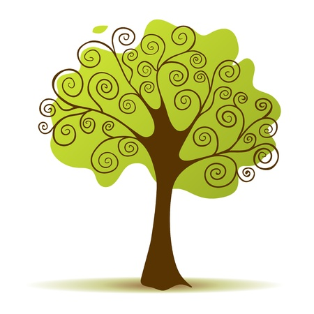 Green tree with curly branch Vector