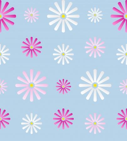 여러 가지 빛깔 된 데이지 꽃과 원활한 배경 일러스트