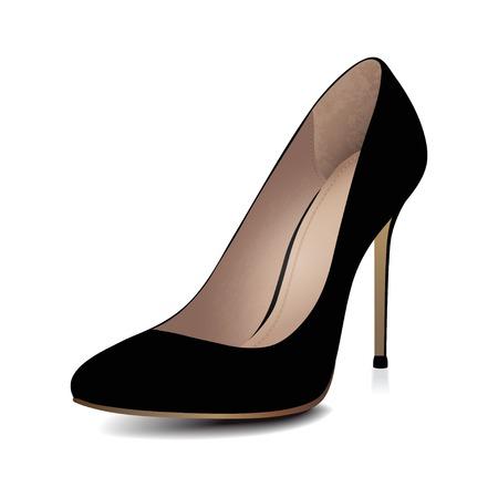 Hoge hakken zwarte schoen Vector illustratie Stock Illustratie