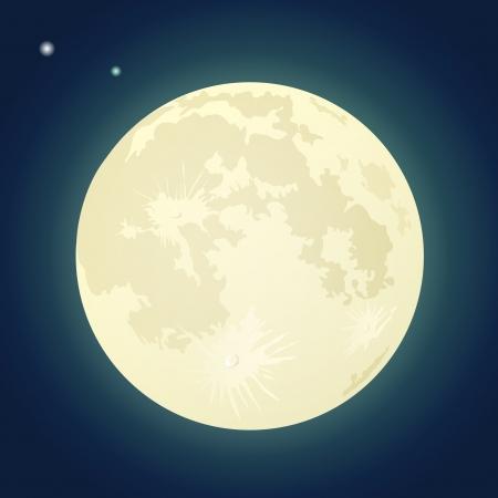 暗く青い空に満月のイラスト