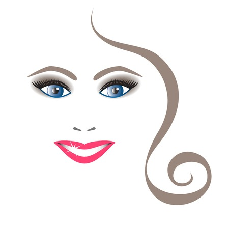 Young beautiful smiling lady on a white background Vector