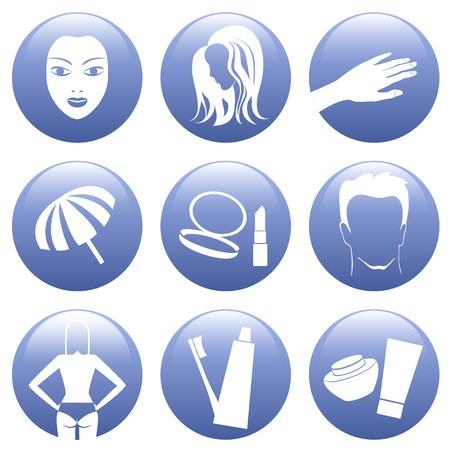 make a paste: Blue button cosmetic icon set