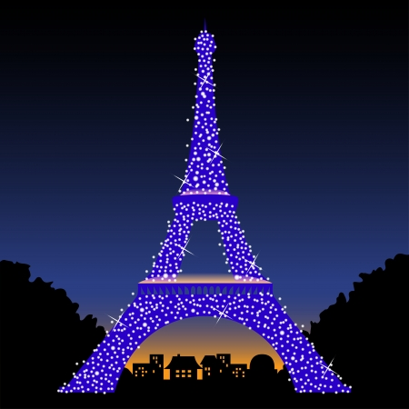 Eiffel Tower at night  Vector illustration Vector