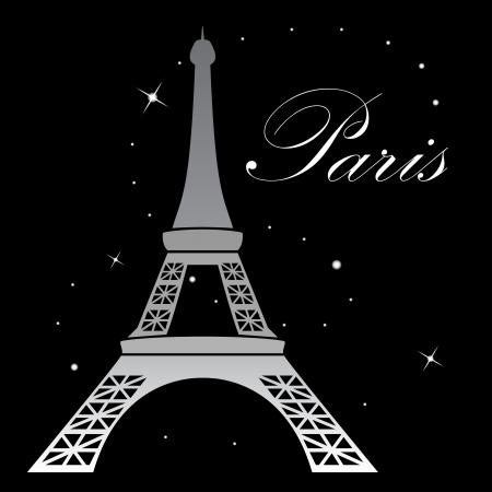 �white: Torre Eiffel en la noche ilustraci�n vectorial Vectores
