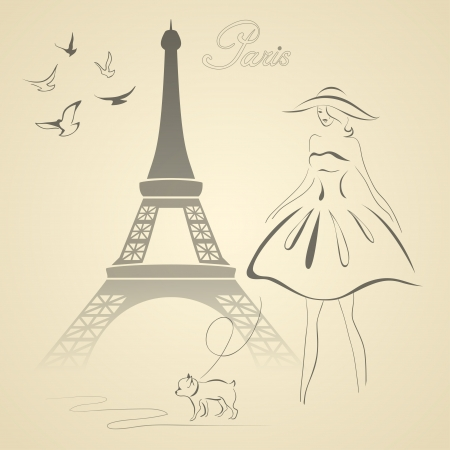 torre: Torre Eiffel, mujer, perro y algunas ilustración vectorial palomas