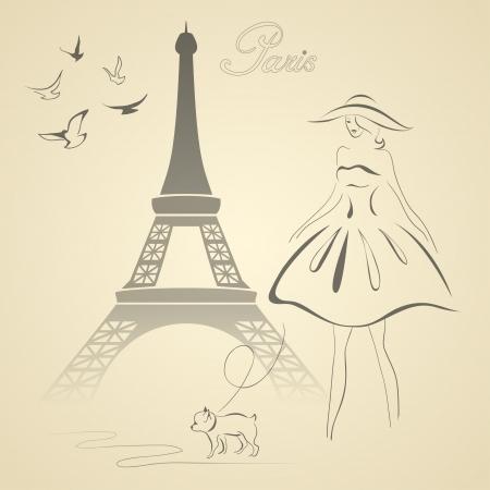 femme et chien: Tour Eiffel, femme, chien et un vecteur illustration colombes